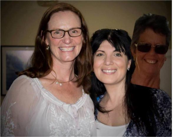 Jenn J McLeod photobombing Louise Allan and Tess Woods